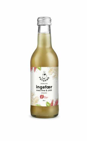 Fatdane Ingefær med Lime/Chili Øko, 25 cl. 24 stk