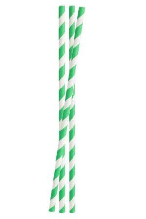 Papirsugerør, Stribet Grøn 6x200mm