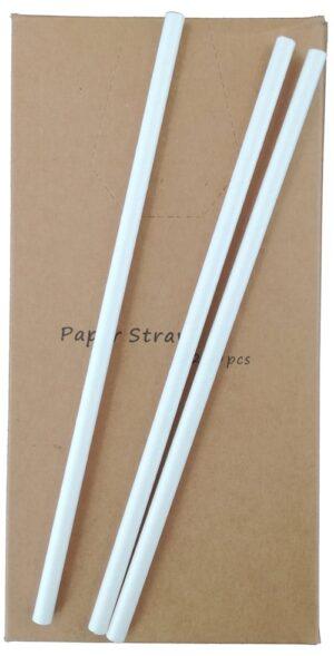 Papirsugerør Hvid 250 stk 20 cm