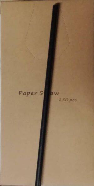 Papirsugerør Sort 250 stk 20 cm