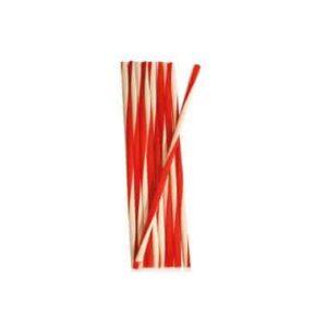 Sugerør Hvid med røde striber 7x245 mm (250 stk)