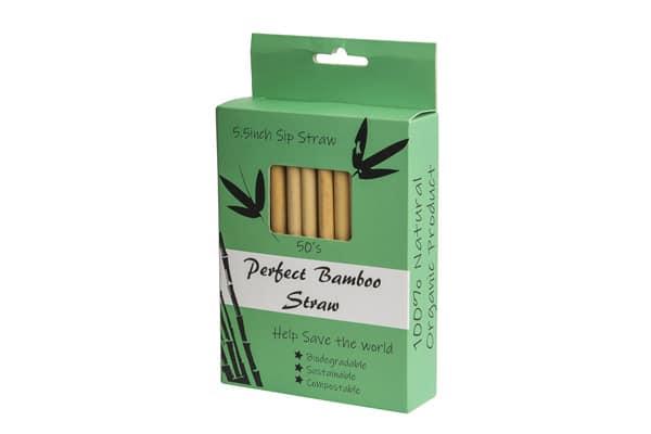 Bambus sugerør 14cm 50 stk + 2 børster